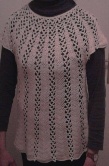 Tunique cachemire laine écru au crochet