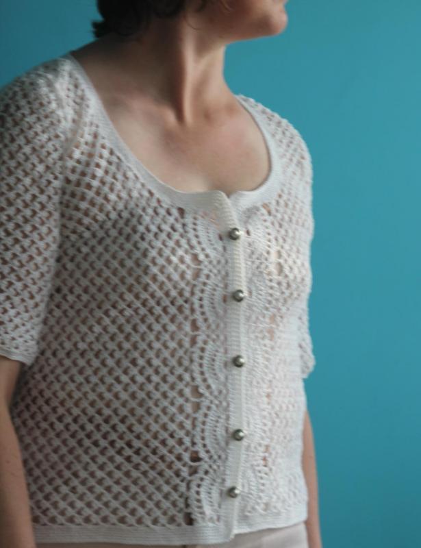 Cardigan coton blanc dentelle au crochet